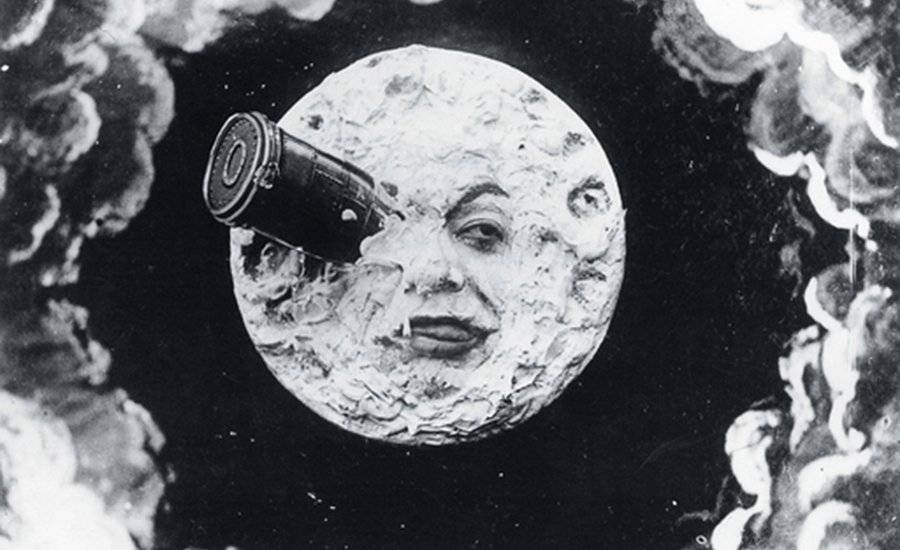 Image from silent film of rocket hitting the moon